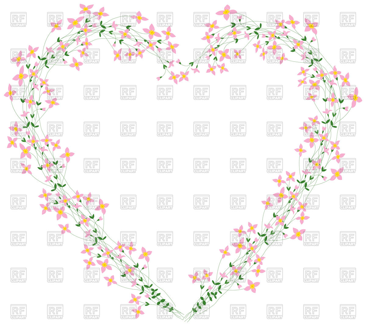 Floral heart shaped wreath with pink flowers Stock Vector Image.