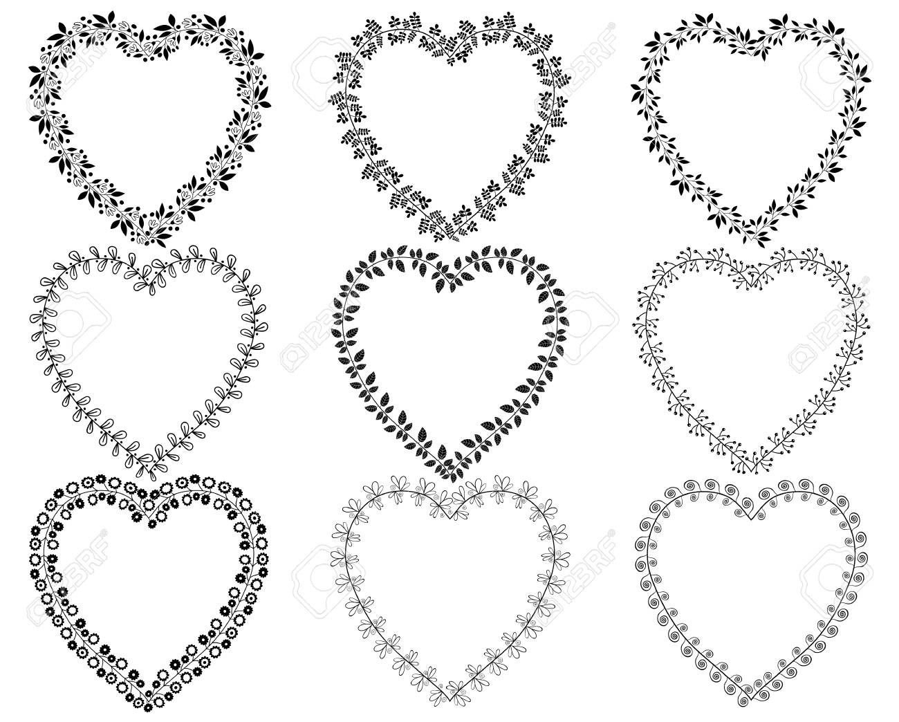 Vector set of floral heart shaped wreath borders for Valentine's...