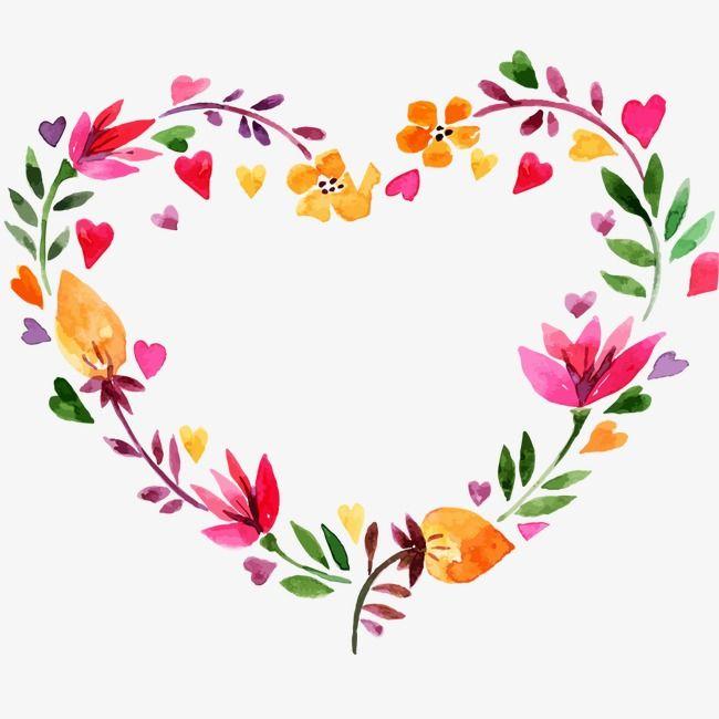 Valentines Day Heart Shaped Wreath, Watercolor Flower, Wreath, Heart.
