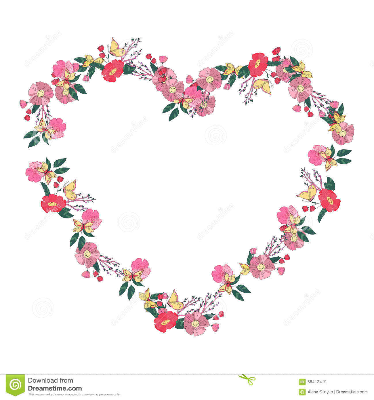 Floral Heartshaped Wreath Made Of Wildflowers Stock Vector.