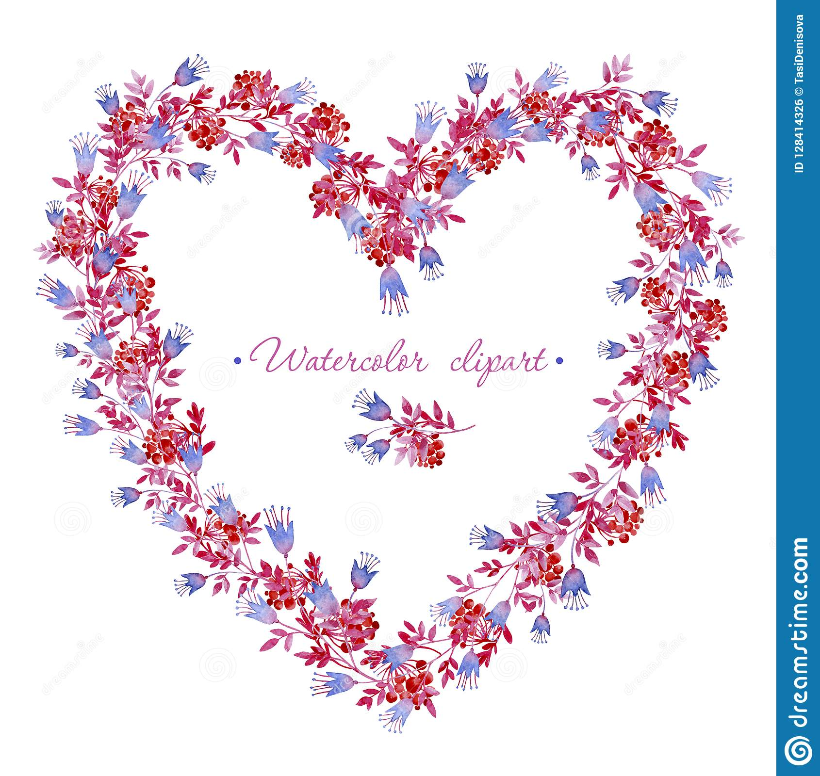 Floral Blue, Pink And Red Wreath Heart Shaped. Cliparts For Wedding.