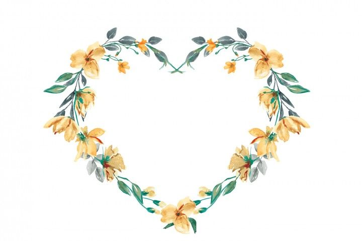 Watercolor Heart Shaped Floral Wreath Clipart By Patishop Art.