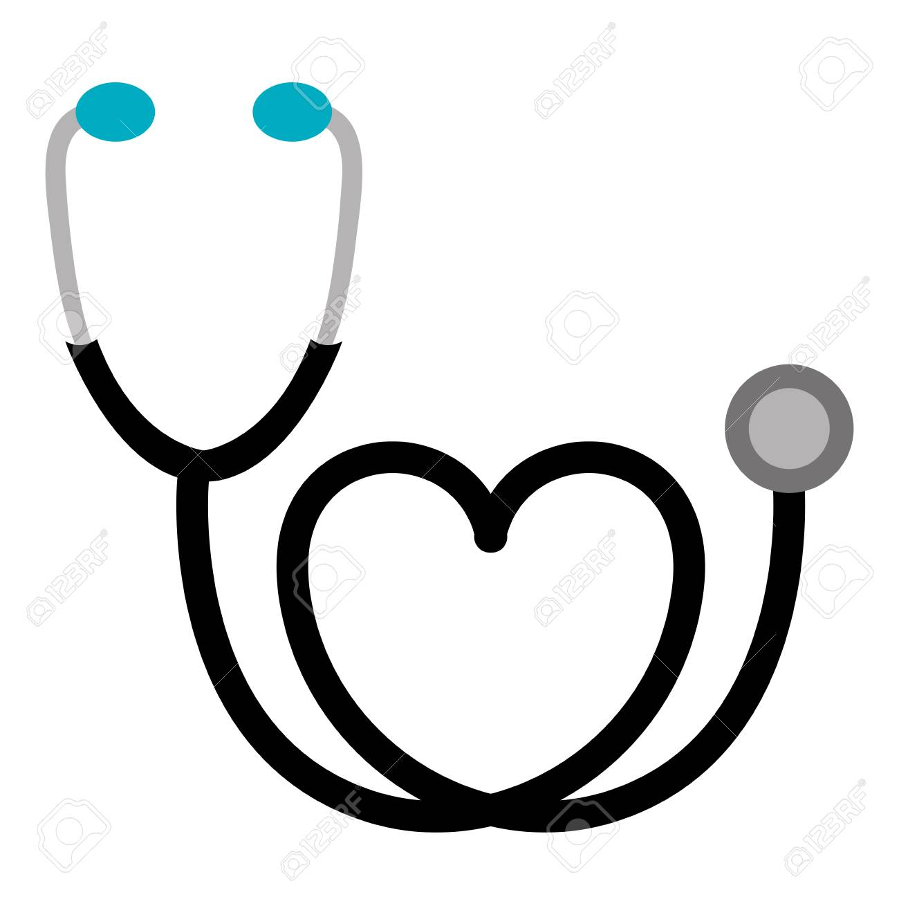 black sticker stethoscope with heart icon, vector illustraction...