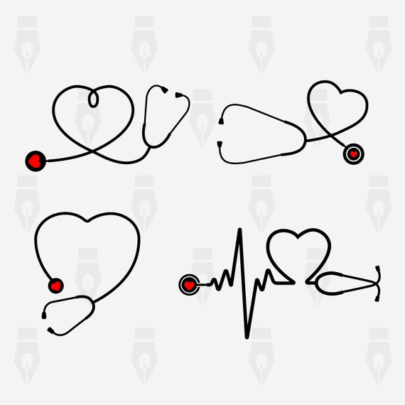 Stethoscope with Heart, Stethoscope digital clipart files for Design,  Printing, Cutting or more. Instant files included svg, png, dxf.