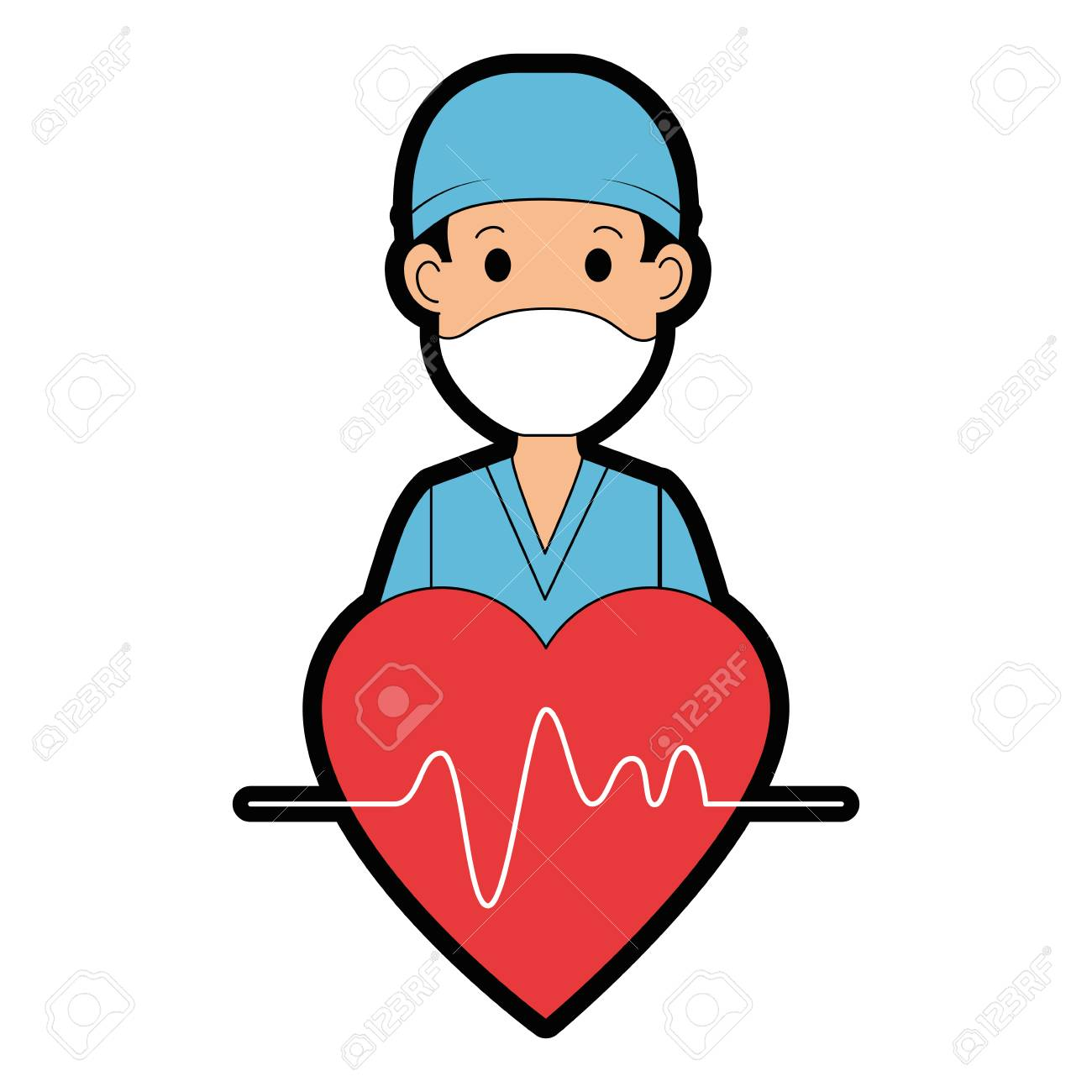 surgeon doctor with heart avatar character icon vector illustration...