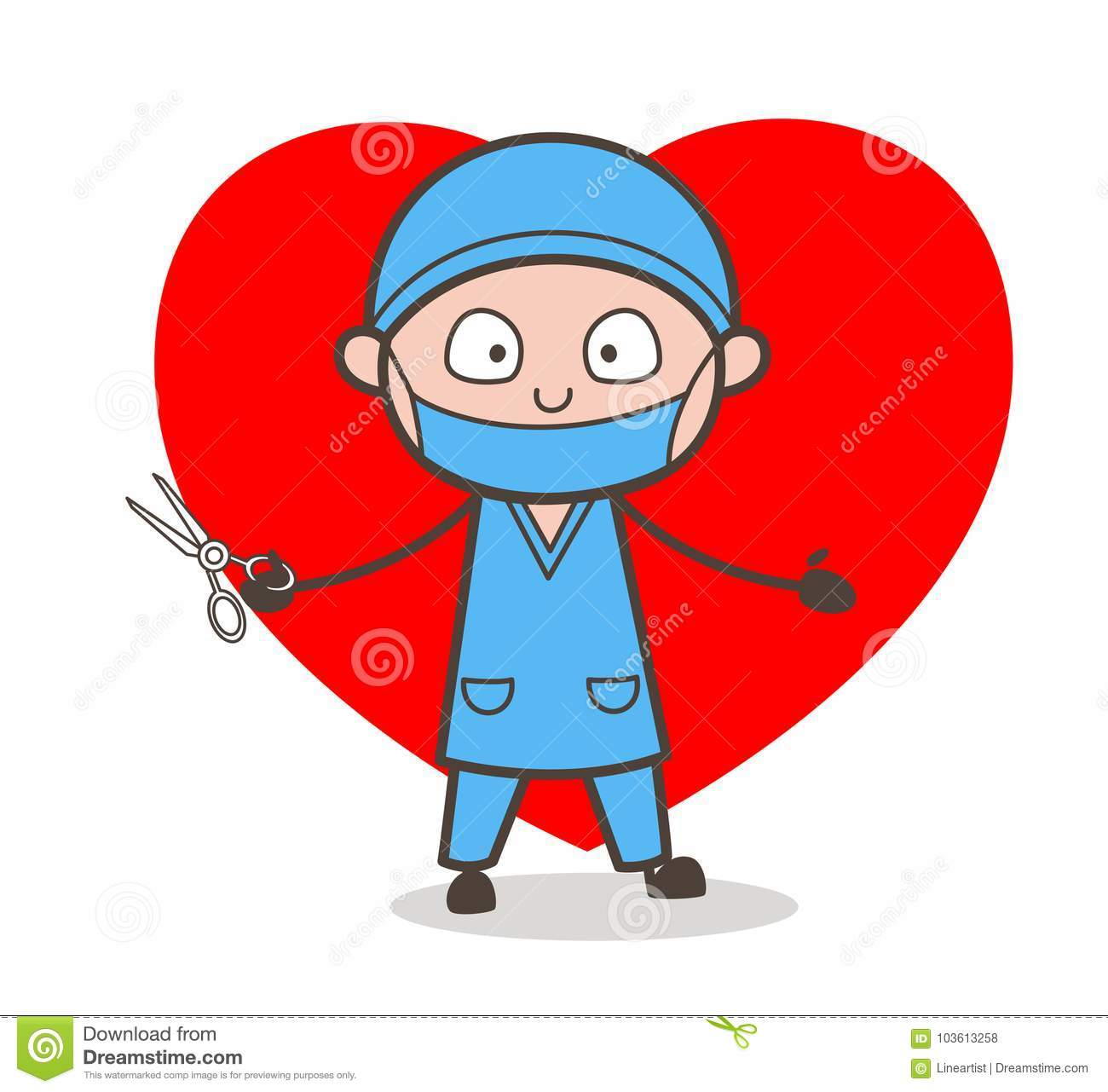 Cartoon Heart Surgeon Character Stock Illustration.