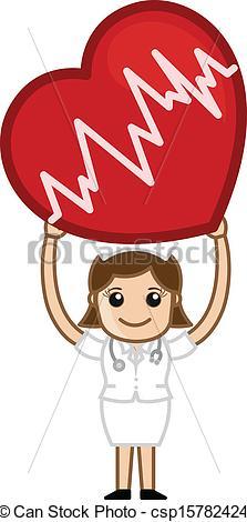 Vector Illustration of Nurse Holding a Heart Vector.