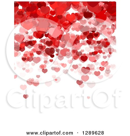 Clipart of a Shiny Red Heart with a Wavy Red Banner and Shadow.