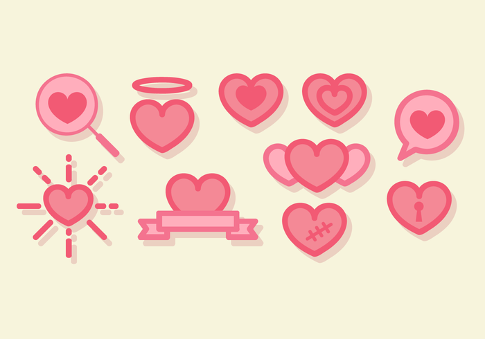 Cute Line Art Hearts Vector.