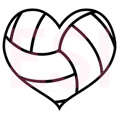 Volleyball Heart Design SVG Cutting Files.