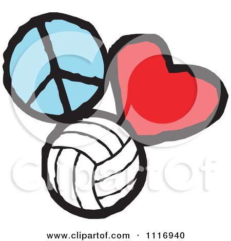 Cartoon Of Peace Love Volleyball Graphics.