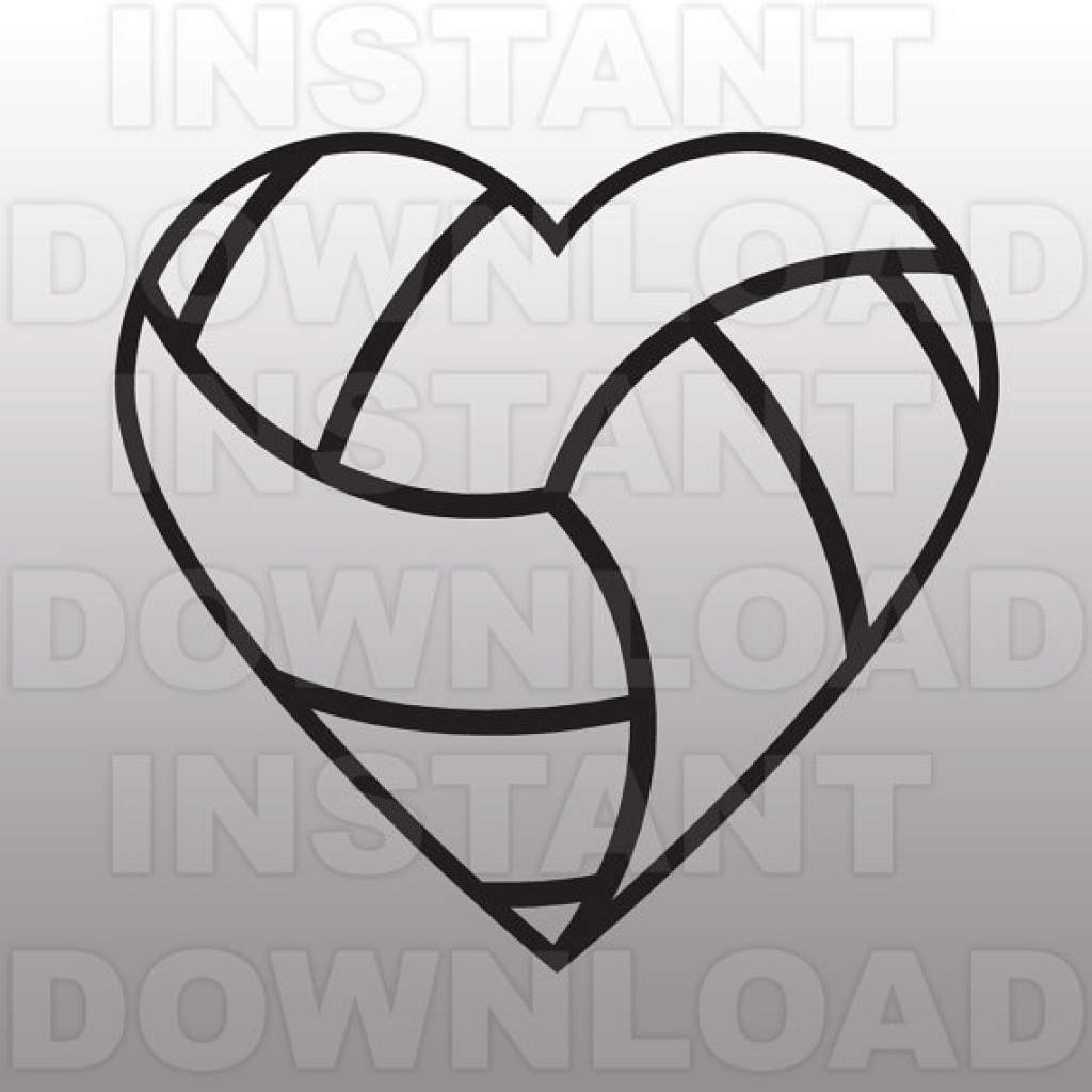 Volleyball Heart Svg File Cutting Template Clip Art For Sammo.