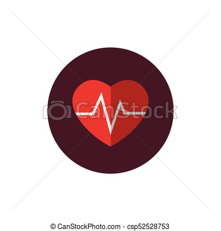 Heart and heart wave, symbol on white background.