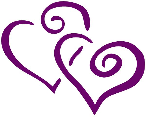 Dark Purple Heart Wedding Clip Art at Clker.com.