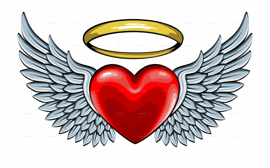Vector Freeuse Library Halo Clipart Angel Wings Heart Free PNG.