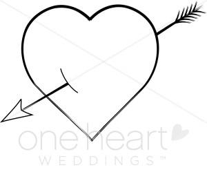 Heart With Arrow Clipart Black And White.