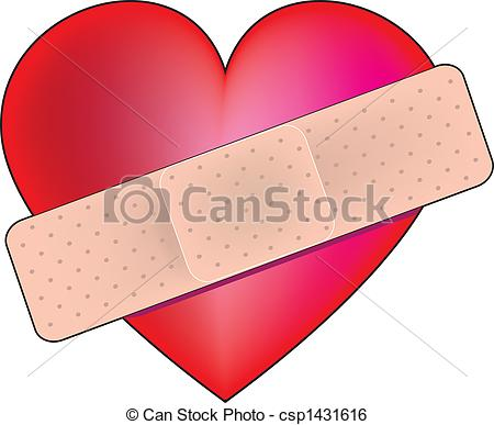 Clip Art of Broken Heart With Bandaid.