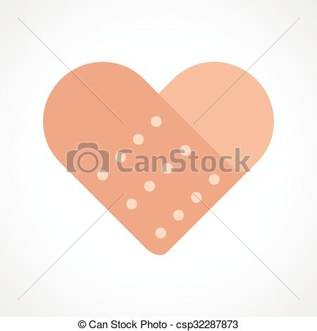 Vector Illustration of broken heart. heart and band aid.