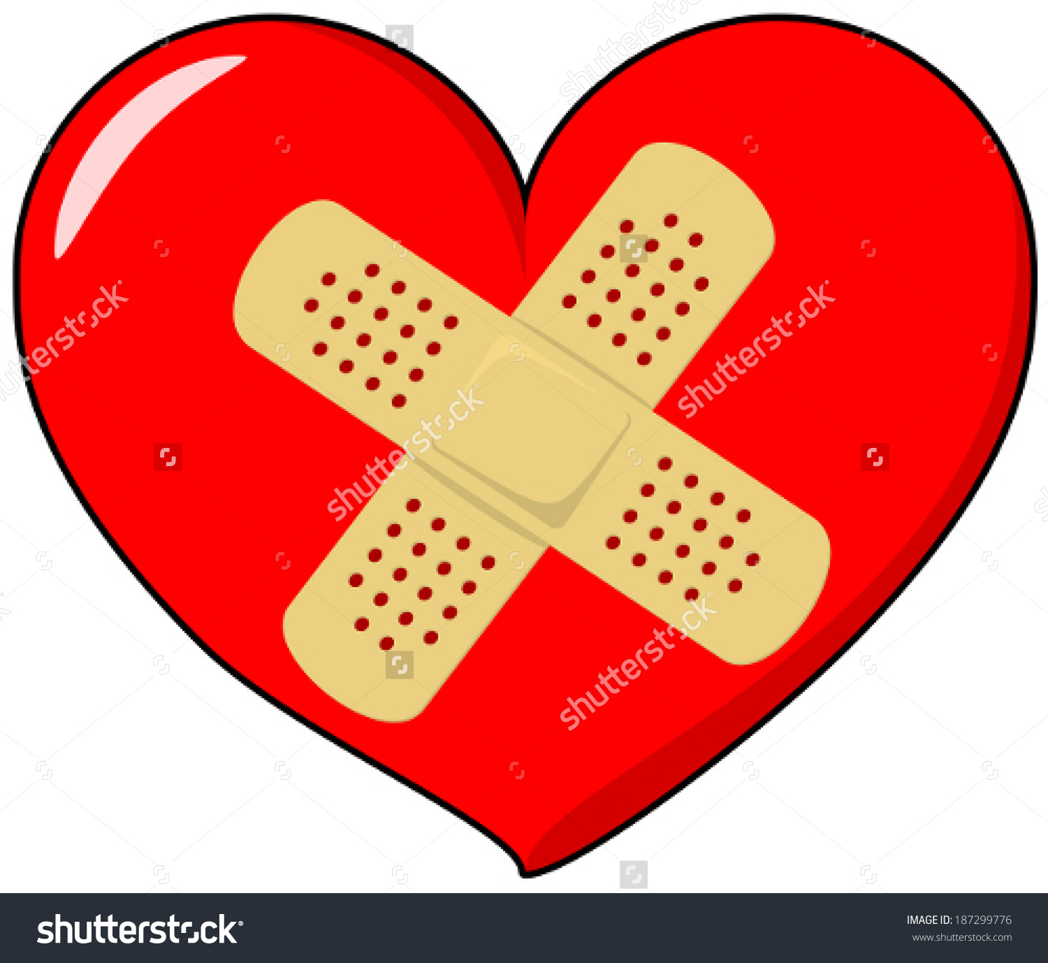 Vector Drawing Heart Band Aid Stock Vector 187299776.