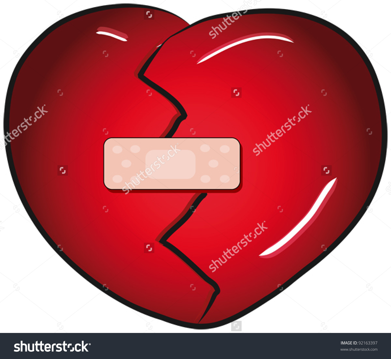 Broken Heart With A Band Aid Vector Clip Art.