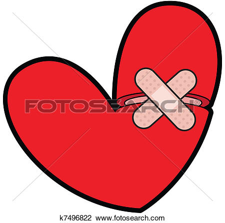Clip Art of Broken Heart With Bandaid k7496822.