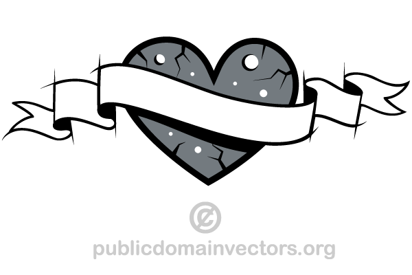 Love Heart with Banner Clip Art.