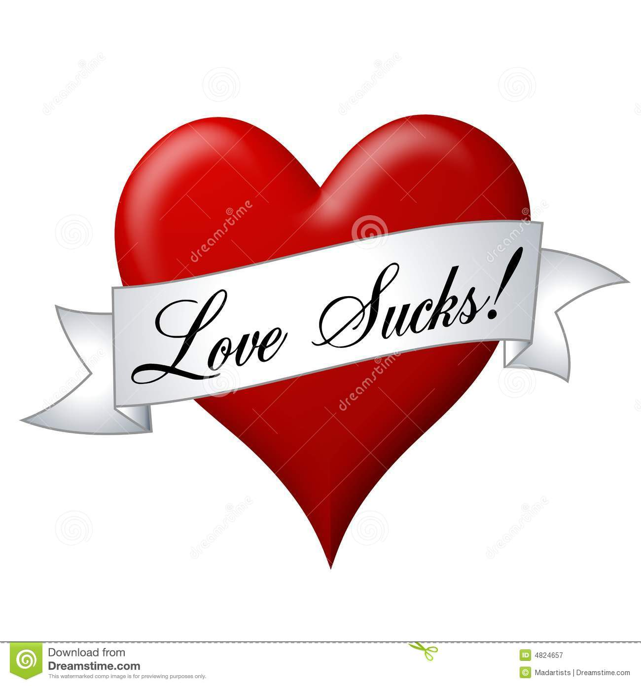 Love Sucks Banner With Heart Royalty Free Stock Photography.