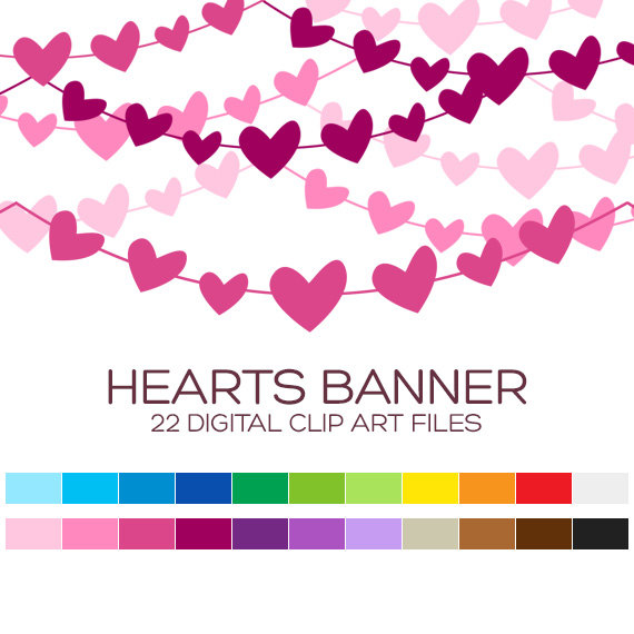 Heart Pennant Banner Clipart for Personal & Commercial Usage.