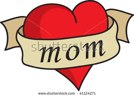 Clip Art Illustration Of A Heart With A Banner..