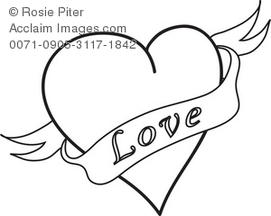 Clip Art Illustration of a Heart With Love Banner.