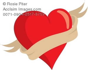 Clipart Illustration of a Heart With a Banner.