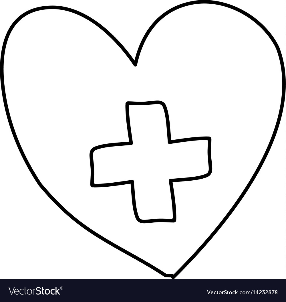 Monochrome hand drawn contour of heart with cross.