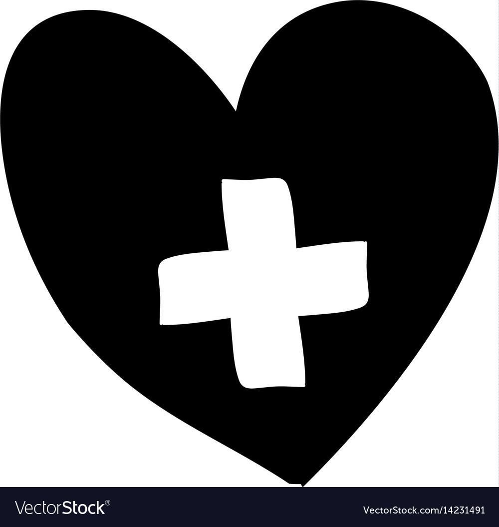 Monochrome silhouette heart with cross inside.