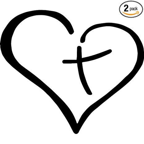 Christian Cross Inside The Heart (Black) (Set of 2) Premium Waterproof  Vinyl Decal Stickers for Laptop Phone Accessory Helmet Car Window Bumper  Mug.