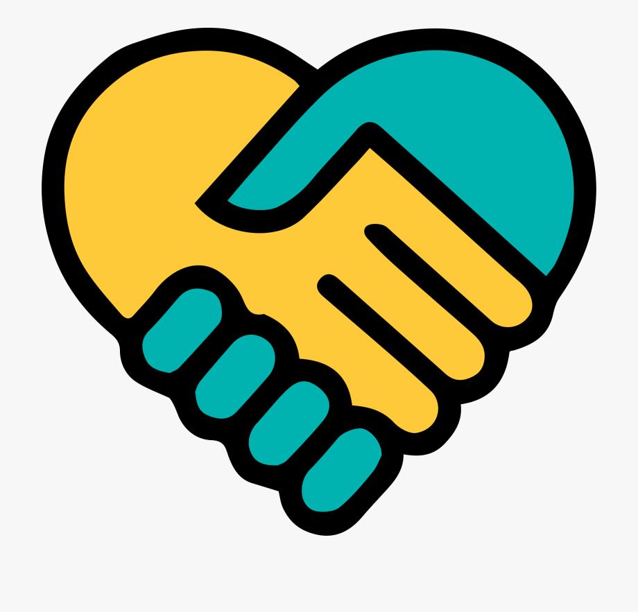 Yellow Blue Holding Hands Heart.