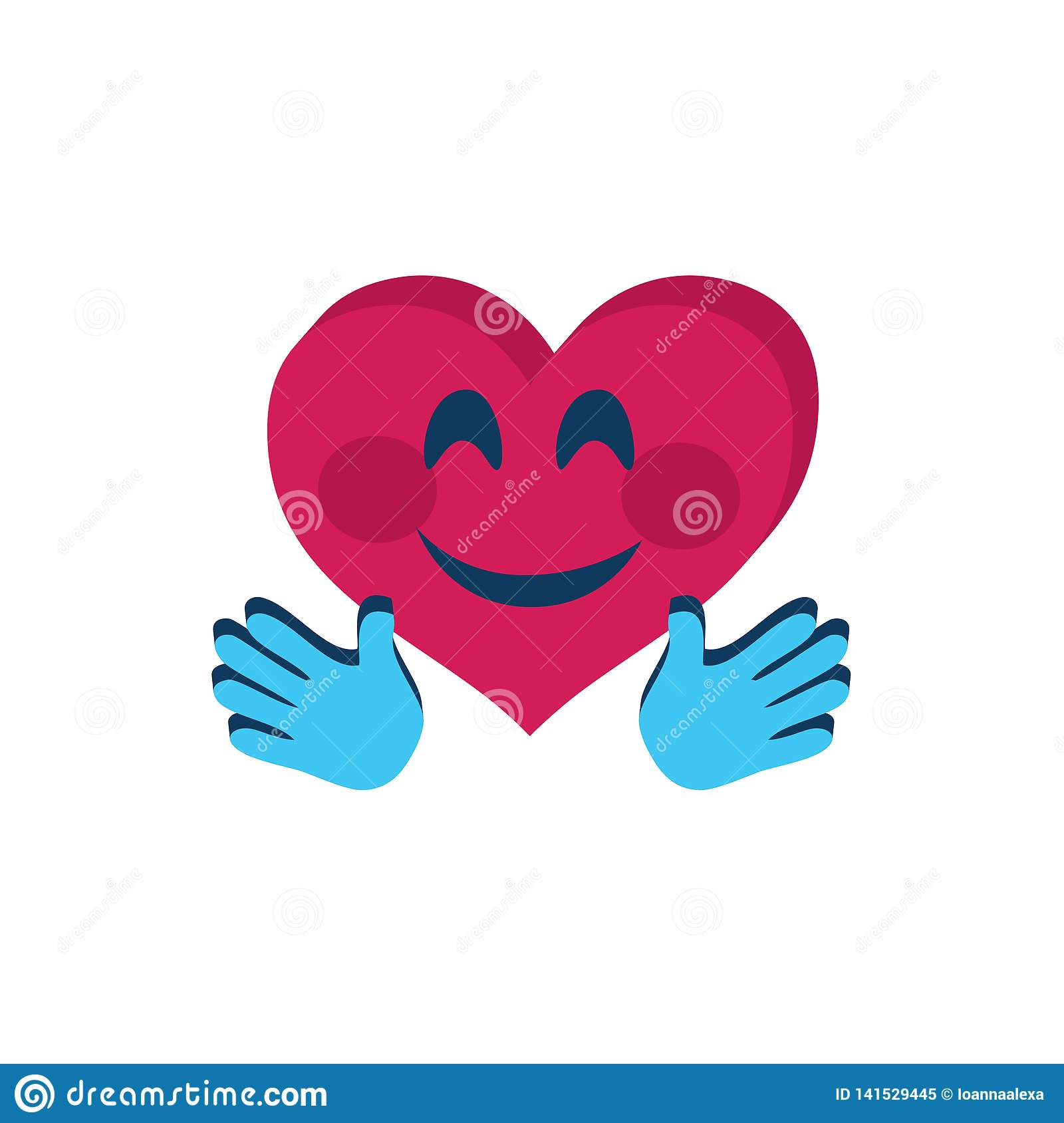 Cute Emoji Heart Shaped With Hands Stock Vector.
