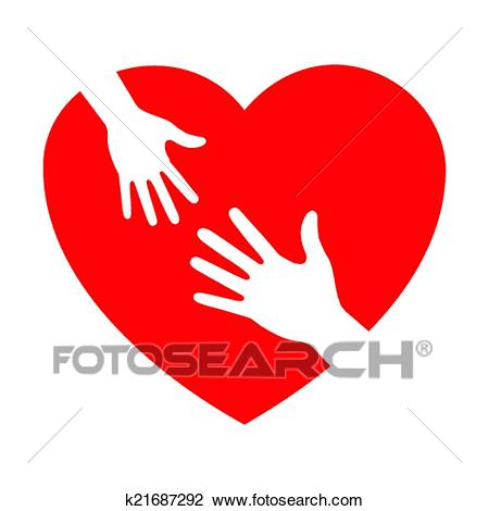 Heart icon with caring hands Clipart.