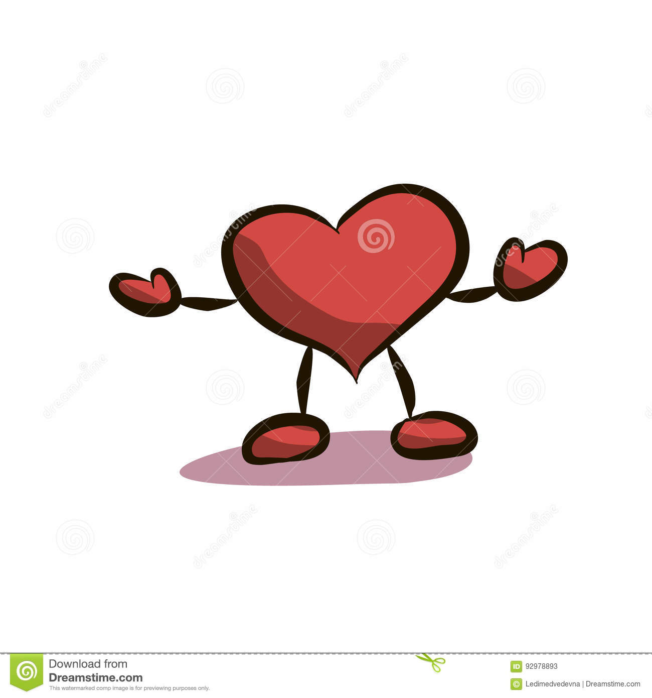 Heart with legs stock vector. Illustration of drawn, symbol.