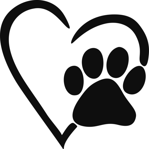 Heart Paw Print Decal.