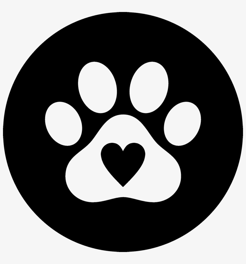 Clip Art Black And White Stock Paw Print Heart Clipart.