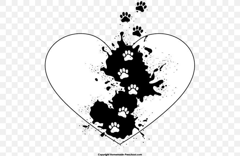 Heart Paw Tiger Clip Art, PNG, 513x532px, Heart, Black.