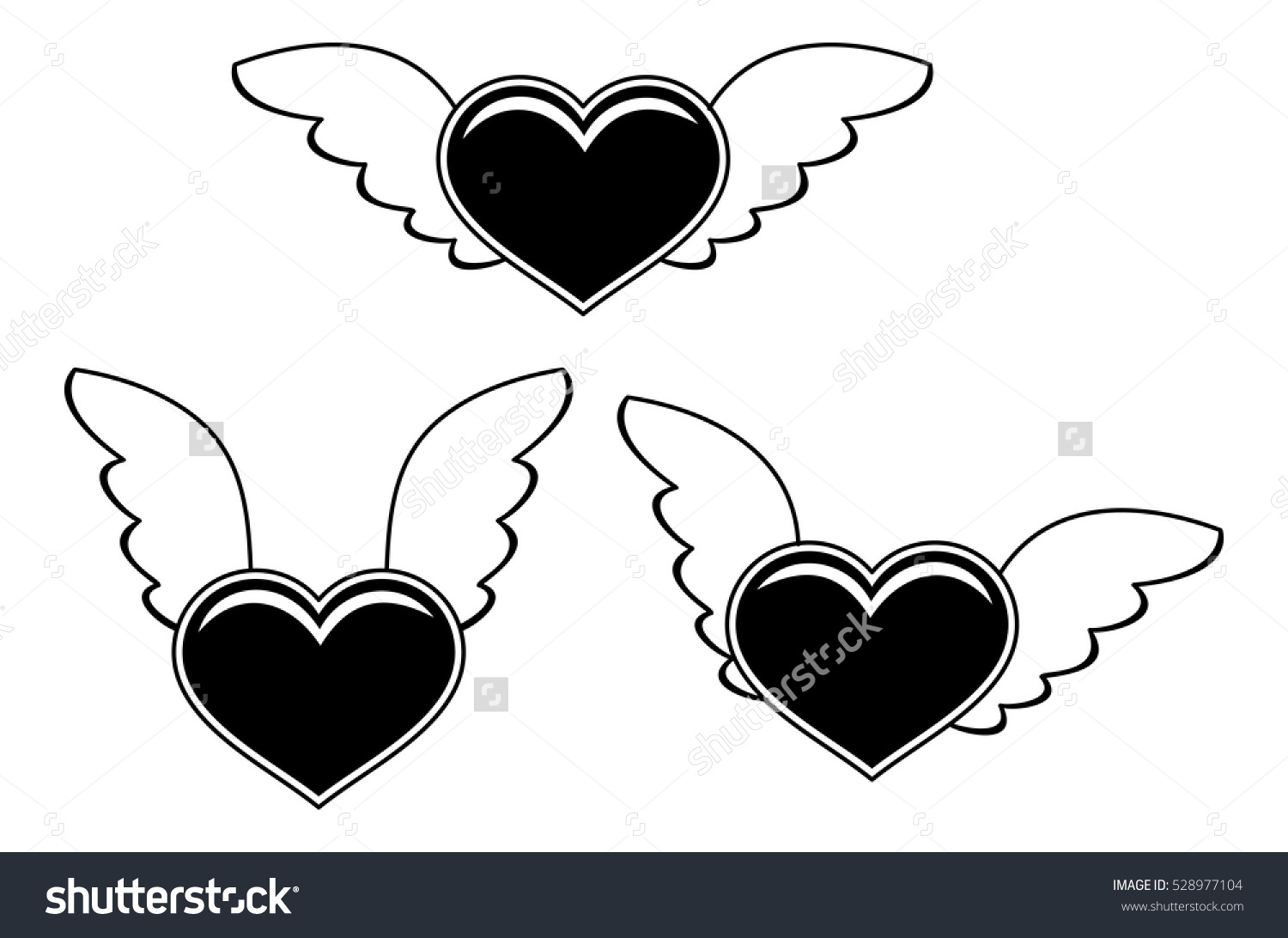 Black White Silhouette Flying Heart Vector Stock Vector 528977104.