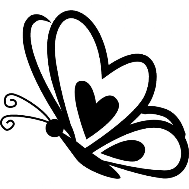 heart with wings clipart black and white for silhouette #11
