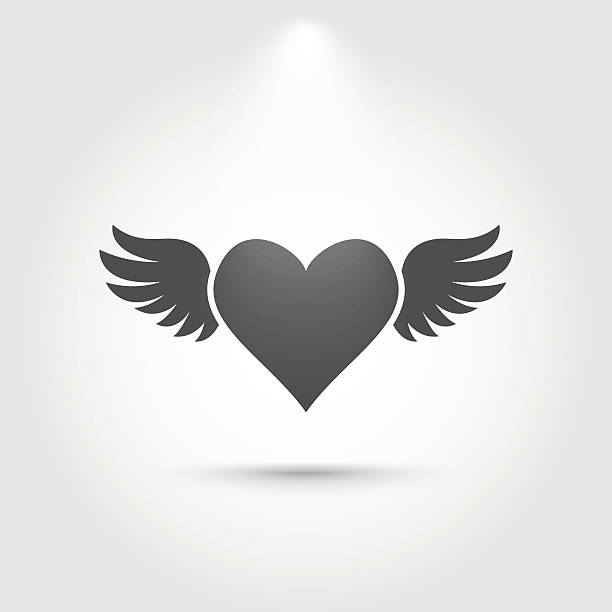 Silhouette Of A Heart With Wings Tattoo Clip Art, Vector Images.
