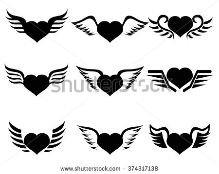 Heart Wing Set Black White Stock Vector 133188917.