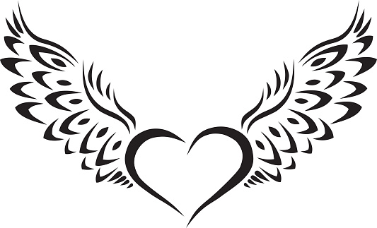Flying Heart Wings Tattoo Design Silhouette Clip Art, Vector.