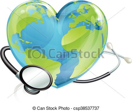 Vectors of Stethoscope Earth Heart World Globe Health Concept.