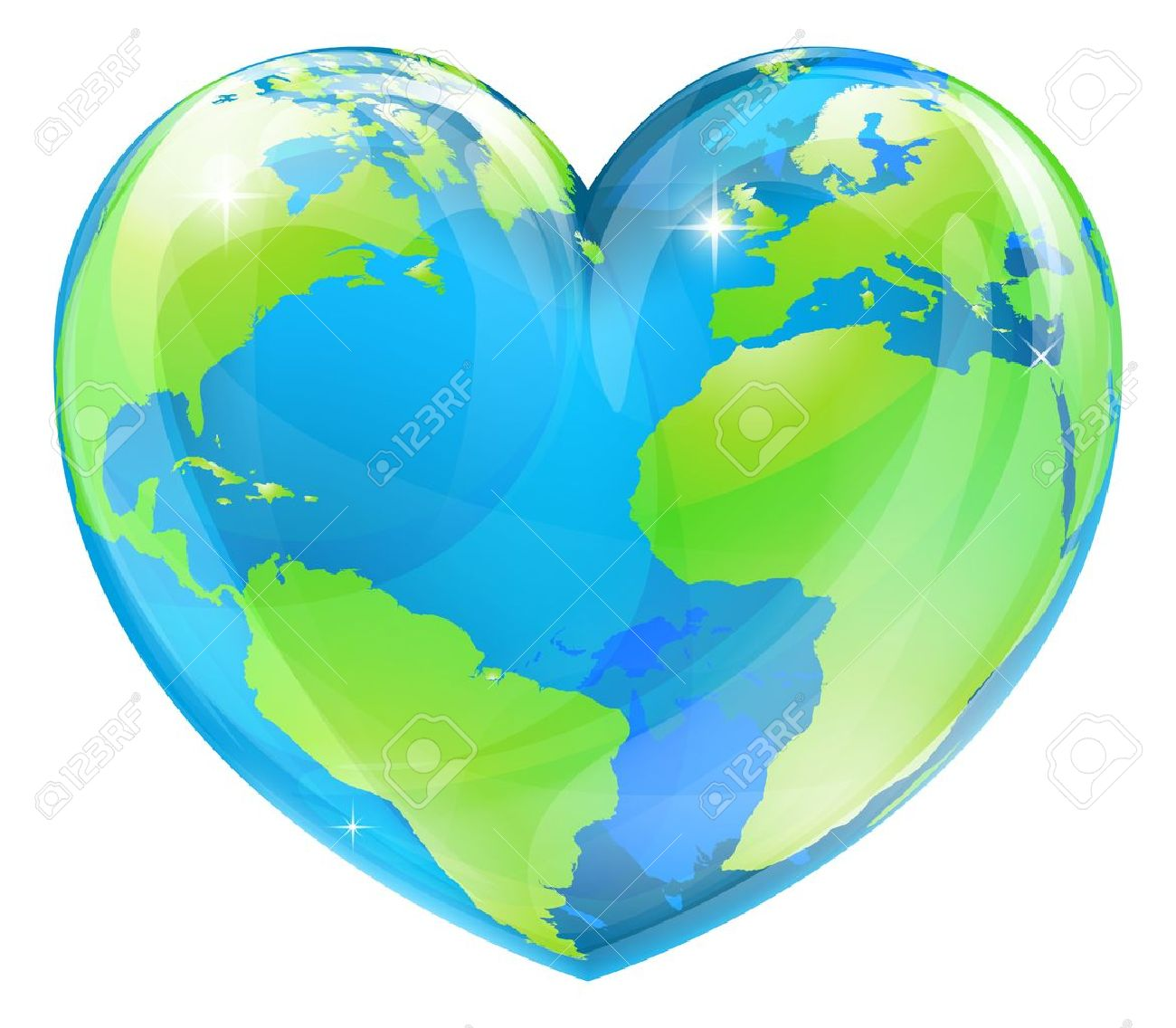 A World Globe In The Shape Of A Heart Symbol Concept For Loving.