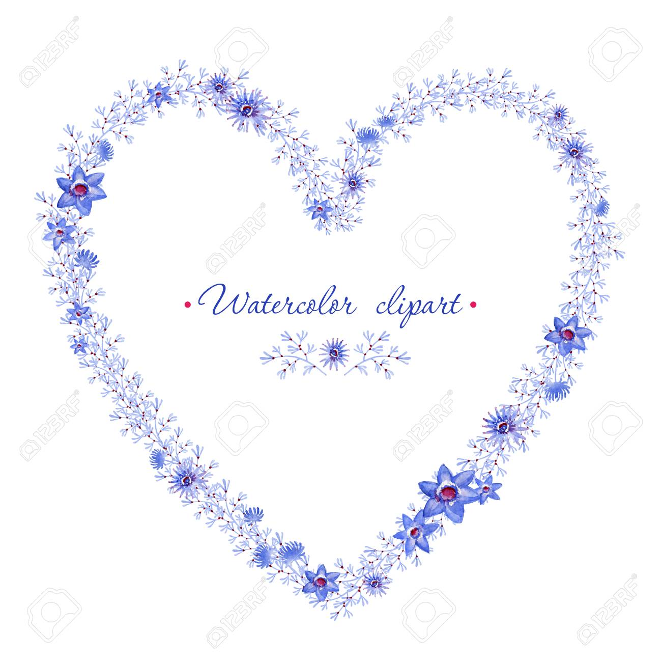 Floral blue wreath heart shaped. Cliparts for wedding design,...