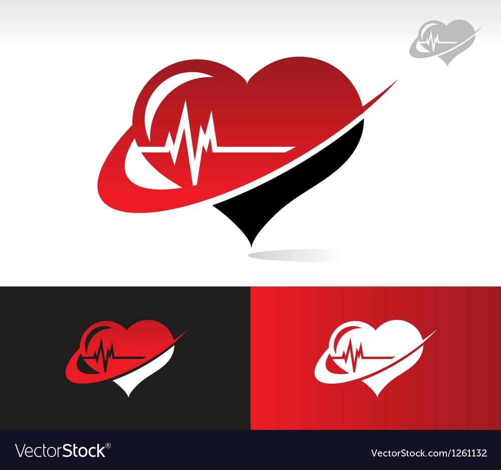 Swoosh Heartbeat Logo Icon.